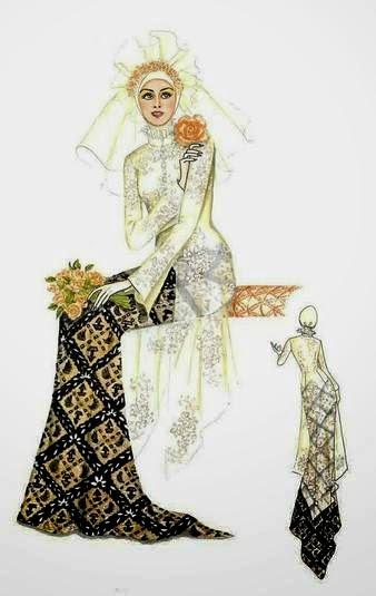 Kombinasi baju pengantin batik muslim modern