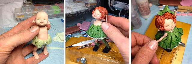 Polymer Clay Clover Fairy work in progress