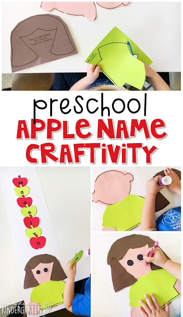 This apple name craftivity is fun for name and fine motor practice with an apple theme. Great for tot school, preschool, or even kindergarten!