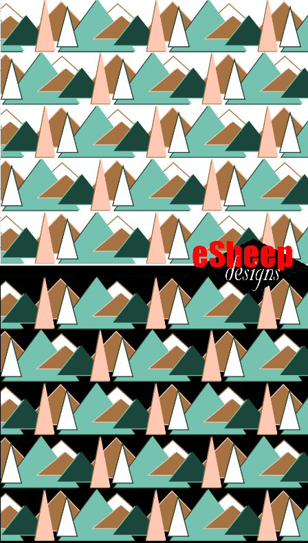 """""""Triangle Trees & Mountains"""" surface design by eSheep Designs"""