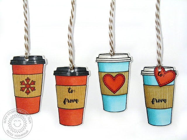 Sunny Studio Stamps: Mug Hugs Coffee Holiday Gift Tags by Mendi Yoshikawa
