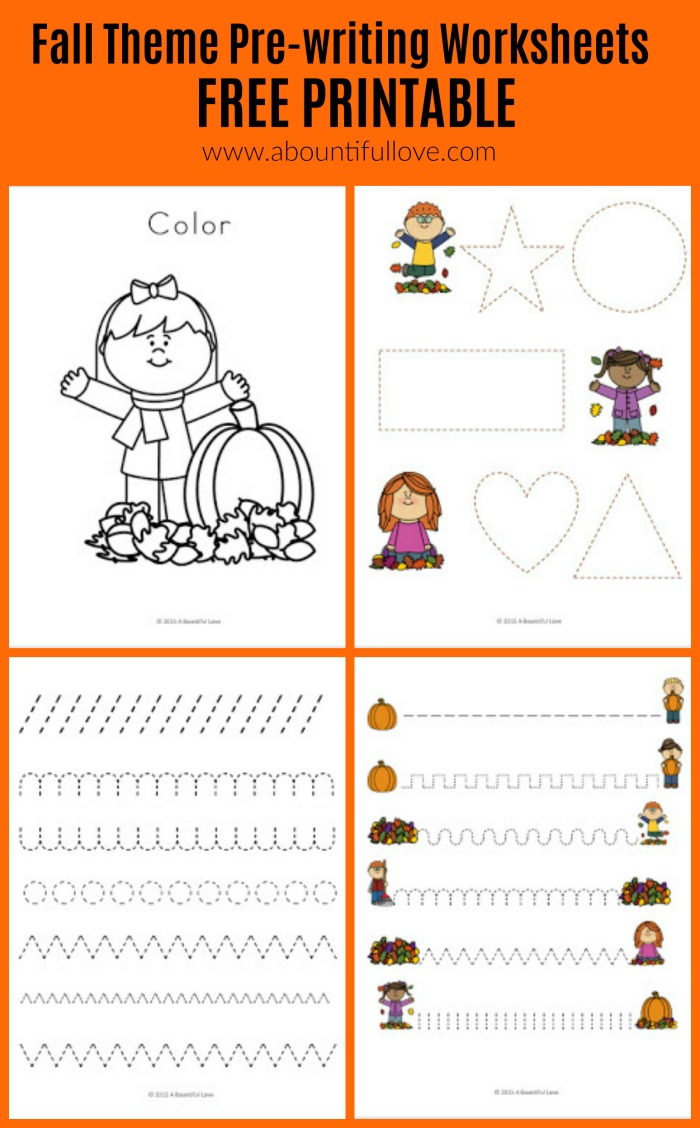 a bountiful love fall theme pre writing sheets free printable. Black Bedroom Furniture Sets. Home Design Ideas