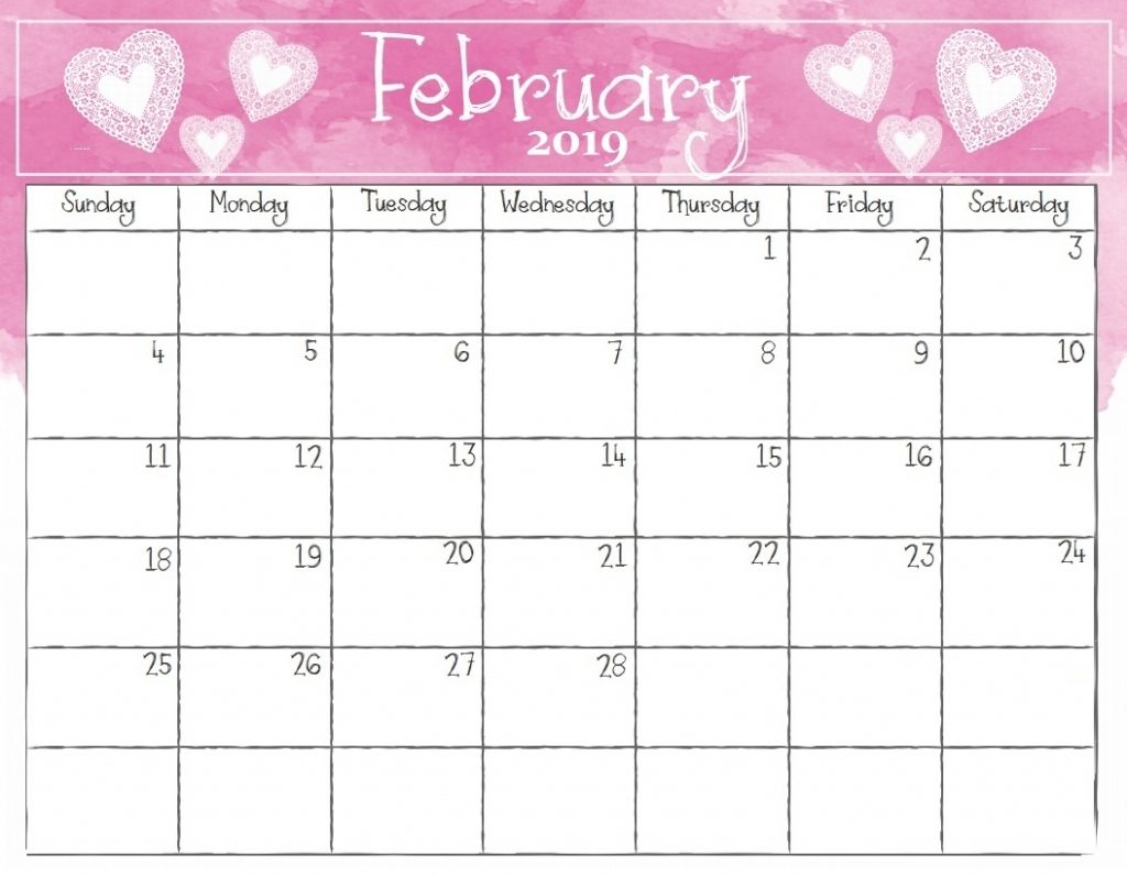 February 2019 Free Calendar Template Download