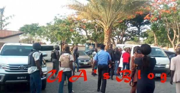 Breaking: Dino Melaye: Jimoh Moshood with 30 police officers storm hospital