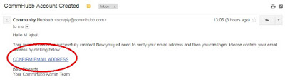 confirm email address commhubb