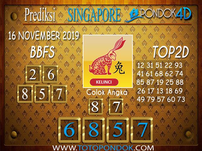 Prediksi Togel SINGAPORE PONDOK4D 16 NOVEMBER 2019