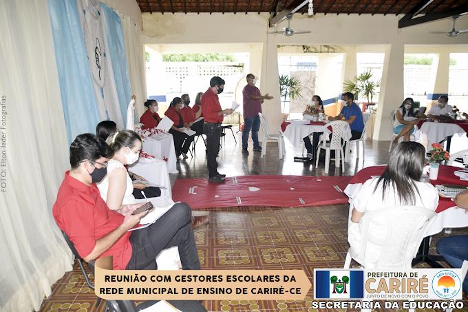 Realizada  reunião mensal de maio com Gestores Escolares da rede de ensino de Cariré-CE