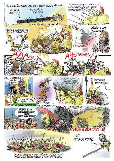 comic Leónidas y los 300 espartanos en las Termópilas