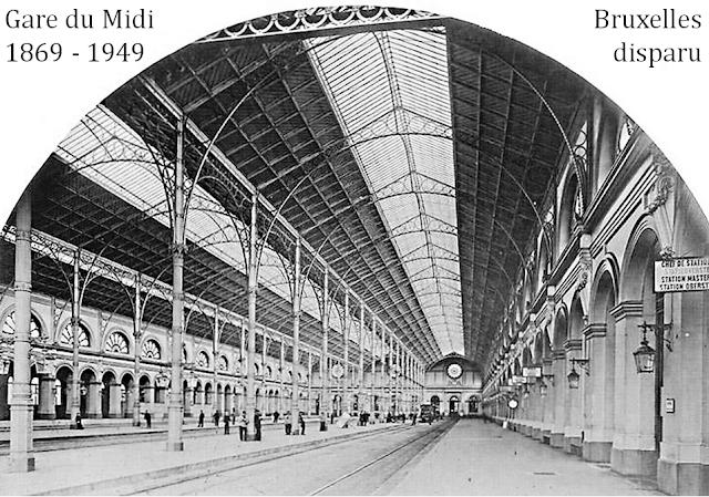 Gare du Midi - Bruxelles disparu - Intérieur de la gare - Les quais - Travail de ferronnerie - Bruxelles-Bruxellons