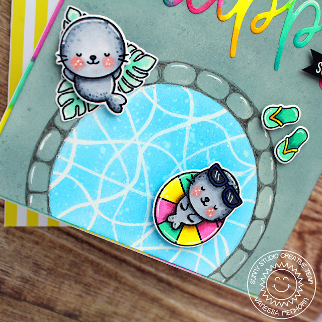 Sunny Studio Stamps: Sealiously Sweet Stitched Semi-Circle Dies Happy Word Die Summer Themed Card by Vanessa Menhorn