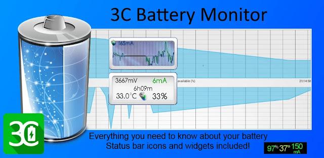 تنزيل 3C Battery Monitor Widget أدوات مراقبة بطارية الهاتف للاندرويد