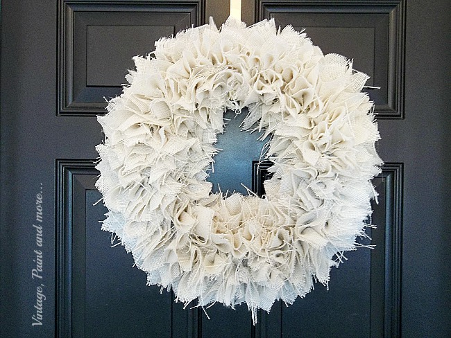 Vintage, Paint and more... a farmhouse wreath made using white burlap and a styrofoam wreath form