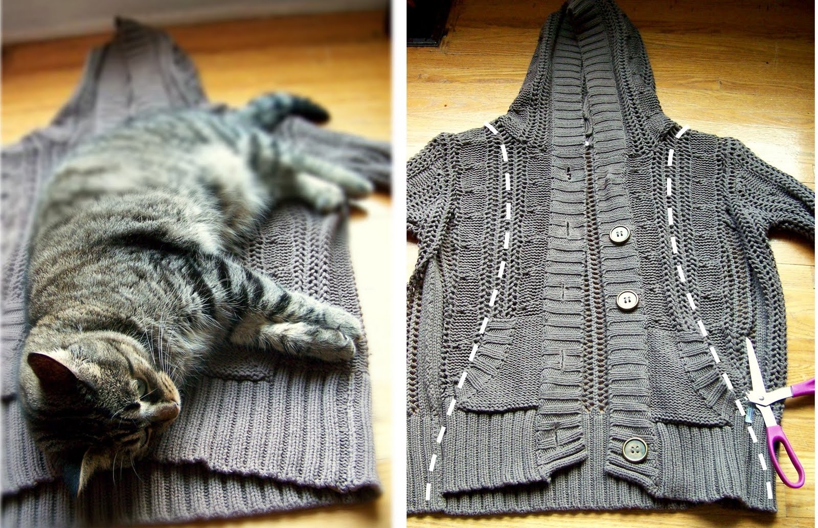 needle and nest design d i y upcycle your sweater into a hooded scarf. Black Bedroom Furniture Sets. Home Design Ideas