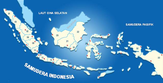 Peta 34 Provinsi Indonesia sesuai nomor urut