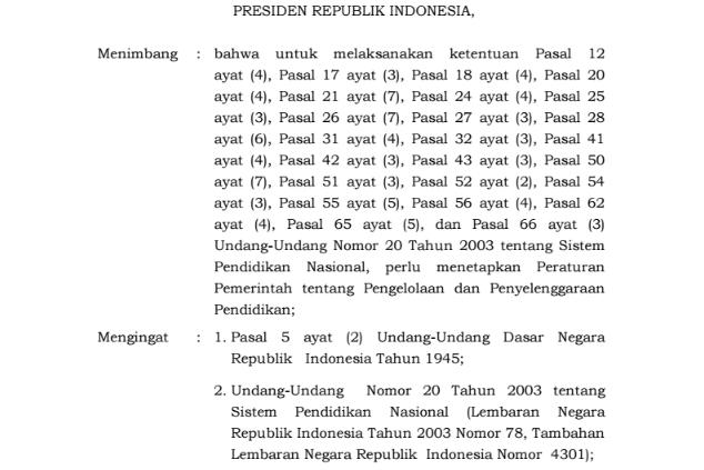 PP Nomor 17 Tahun 2010 Tentang Pengelolaan dan Penyelenggaraan Pendidikan