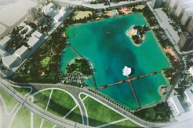 Phối cảnh công viên Hồ điều hòa 32ha khu đô thị mới Cầu Giấy