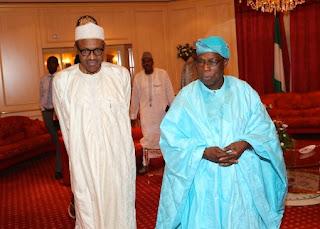 Former President Olusegun Obasanjo and President Muhammadu Buhari
