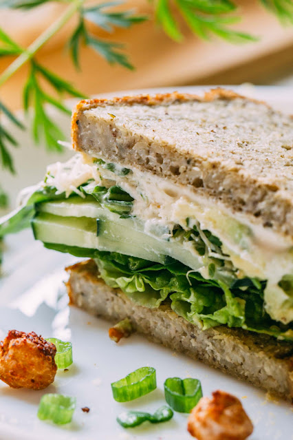 The Green Veggie Sandwich with Cucumber, Sprouts and Avocado