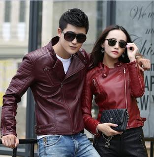 Gambar Jaket Kulit Couple Merah Marun