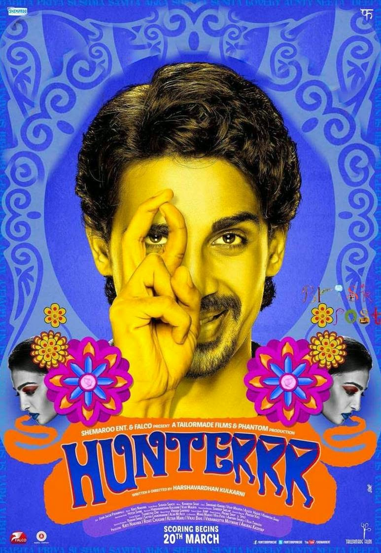 Close up face of Gulshan Devaiah in Poster of Bollywood movie Hunterrr