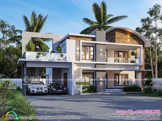 3D rendering of mixed roof contemporary house
