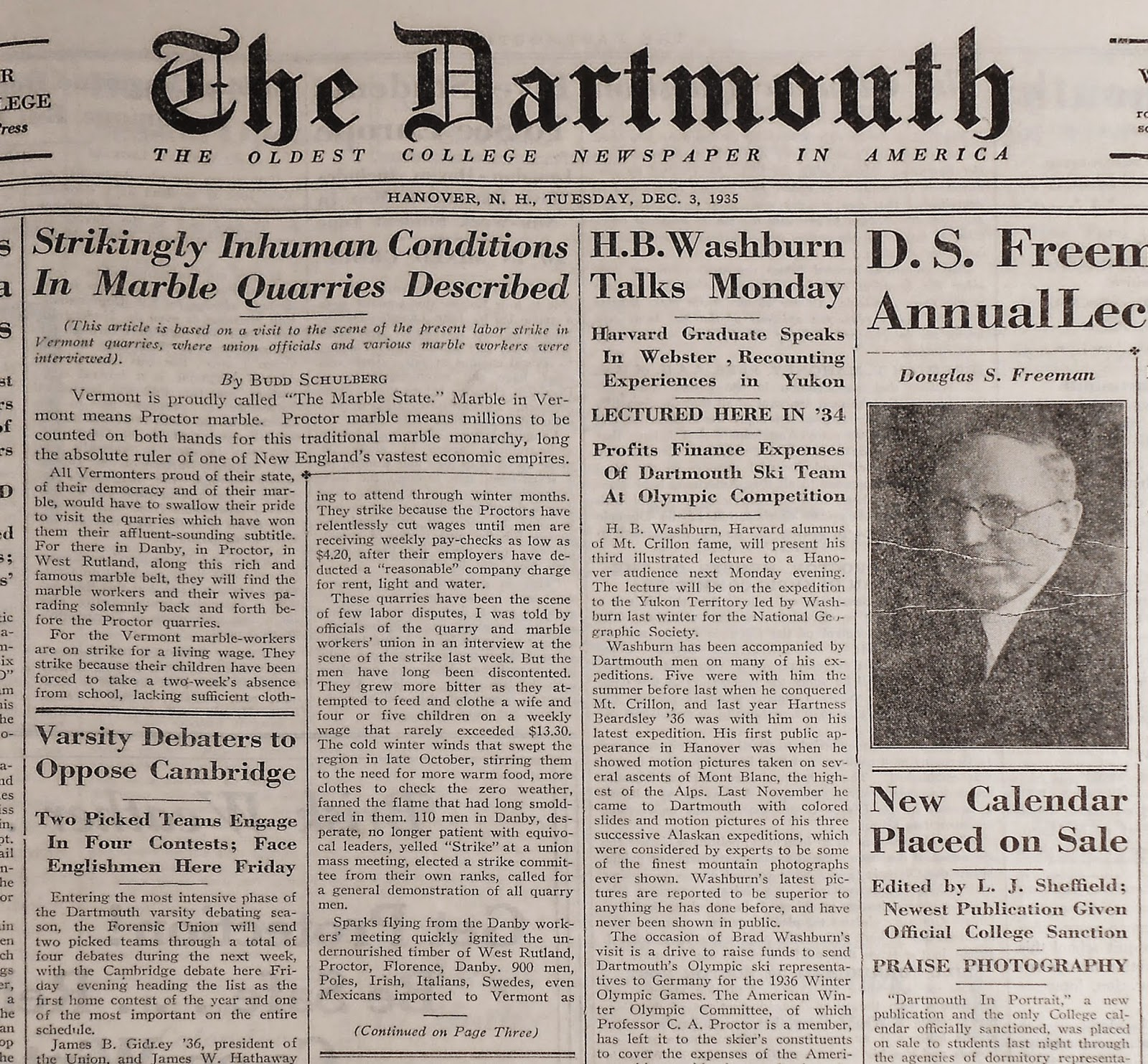 A copy of The Dartmouth, featuring an article by Budd Schulberg.