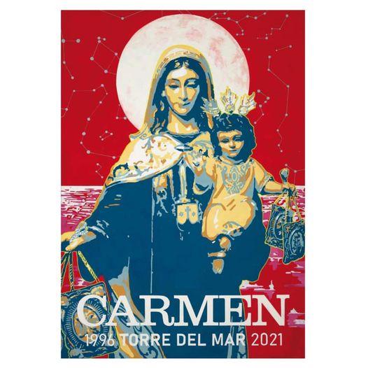Cartel conmemorativo del 25 aniversario de la canonización de la Hermandad Virgen del Carmen de Torre del Mar