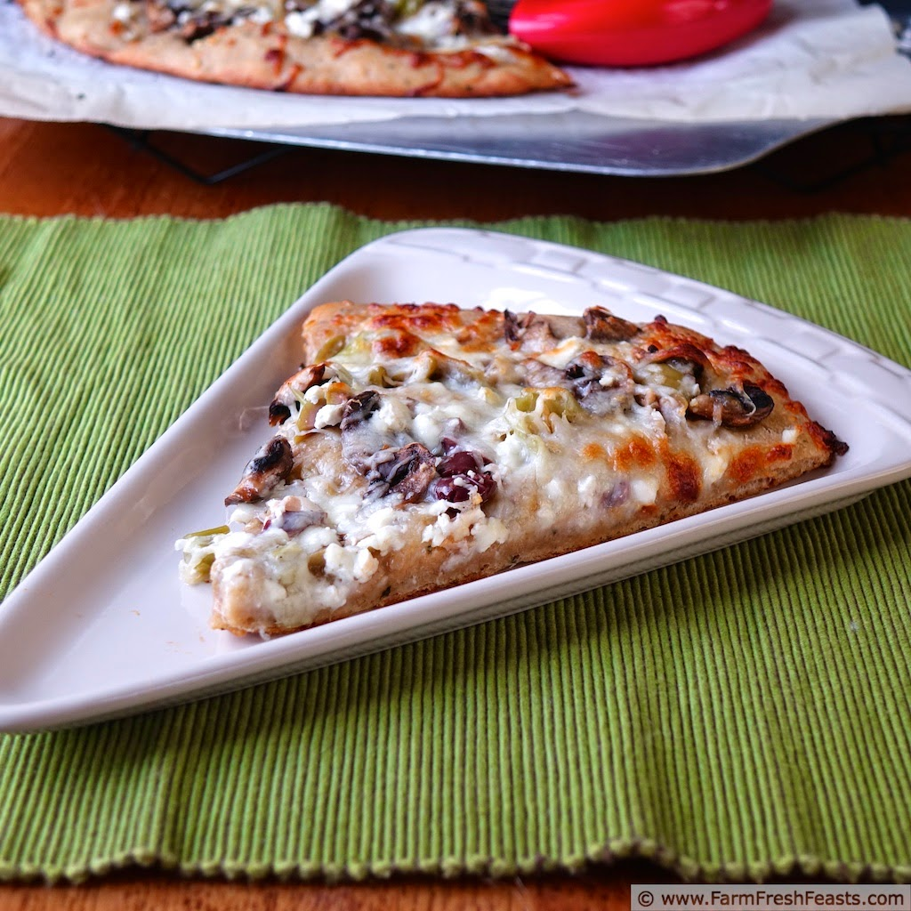 A recipe for vegetarian pizza topped with olives, sautéed mushrooms, feta and fontina cheese. Sounds gourmet but you'll make it at home!