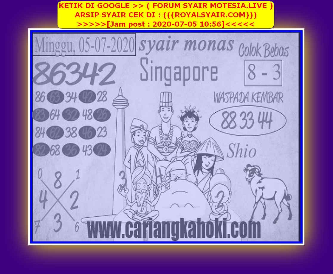 Kode syair Singapore Minggu 5 Juli 2020 136