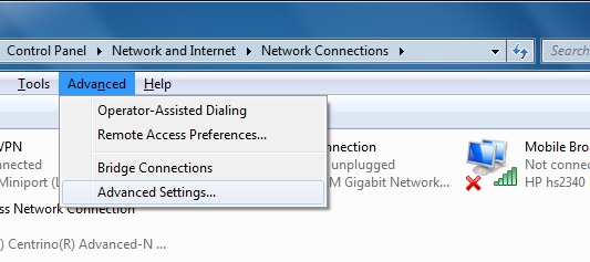 How to set Network Adapter Priorities from Command Line in Windows 7