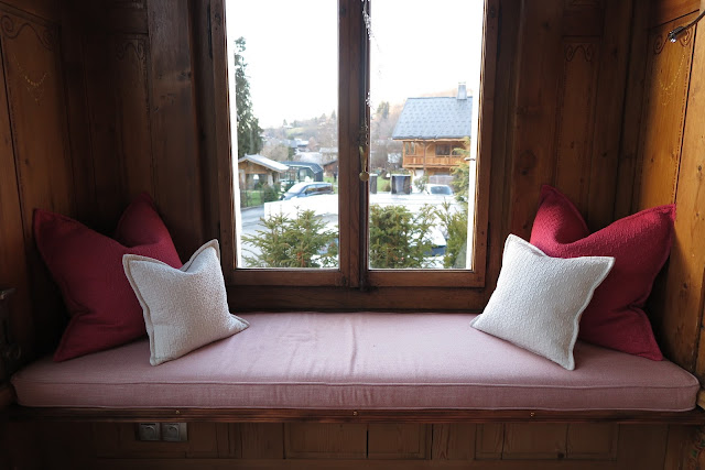 window seat, villa rose hotel, samoens, Alps, France