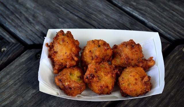 Gari fritters made with cassava flour and curry