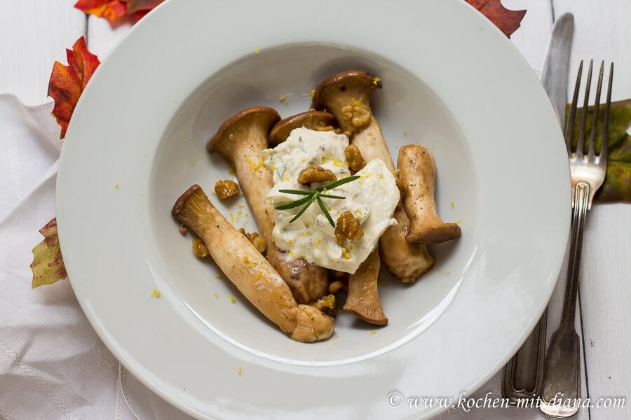 Gebratene Seitlinge mit Mozzarella und Walnüssen