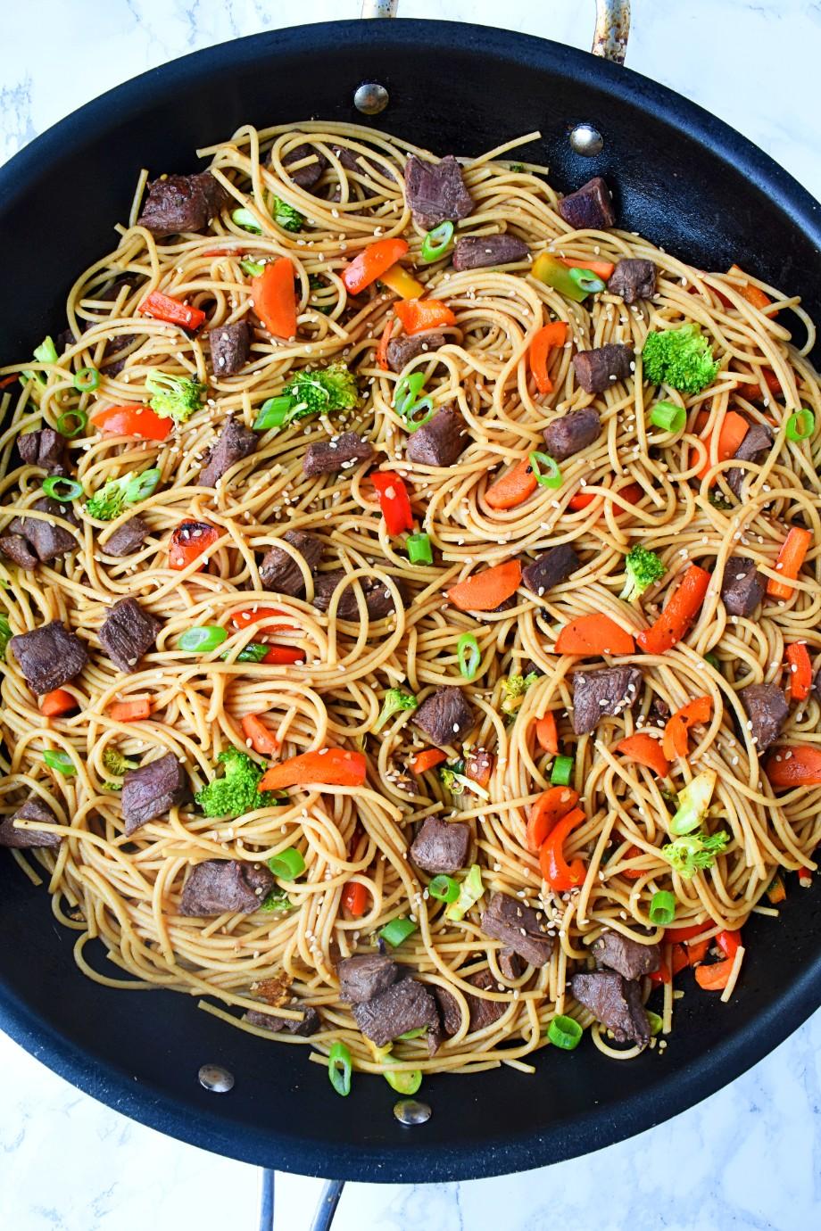 Pan of Beef Stir Fry Noodles