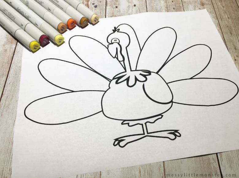 free printable turkey colouring page