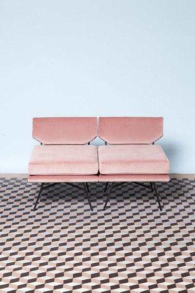 décoration rétro vintage canapé designer velours rose