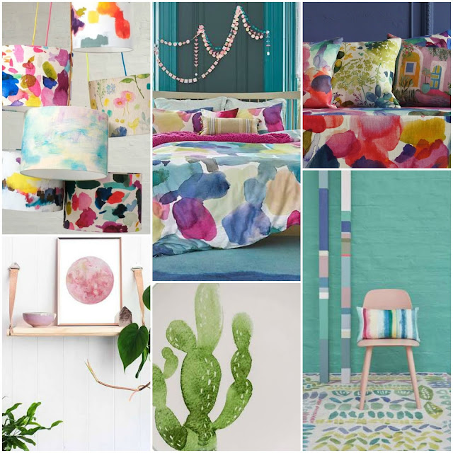 Living With Watercolours - water colour home styling ideas and water colour art