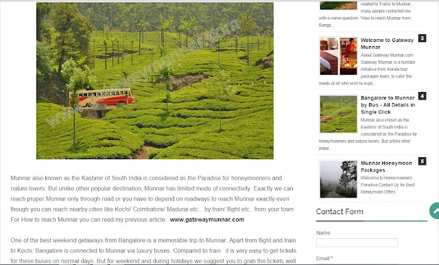 Article by Team Gatewaymunnar on Bangalore to Munnar Bus Services