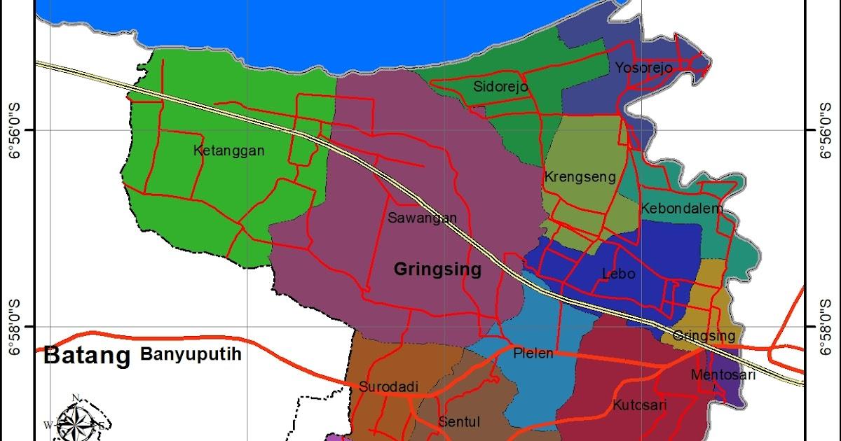 Peta Administrasi Kecamatan Gringsing, Kabupaten Batang ...