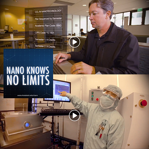 snapshots from nanotech video of a student working at a lap top and at a high tech lab.