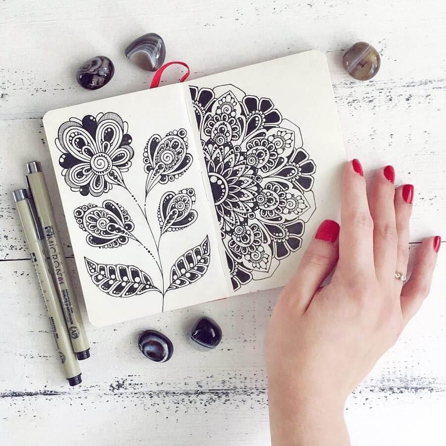 02-Ksenya-Gromova-Ink-Mandala-and-Flower-Drawings-www-designstack-co