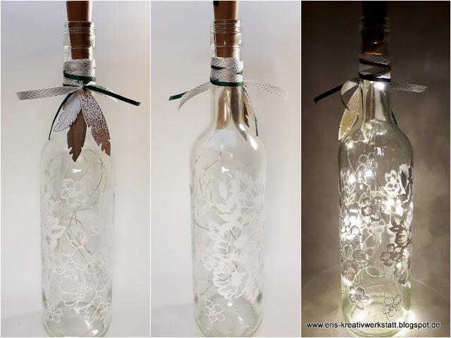 Sommerliche, blumige Leuchtflaschen für die Gartenparty oder als Tischdeko Stampin' Up! www.eris-kreativwerkstatt.blogspot.de