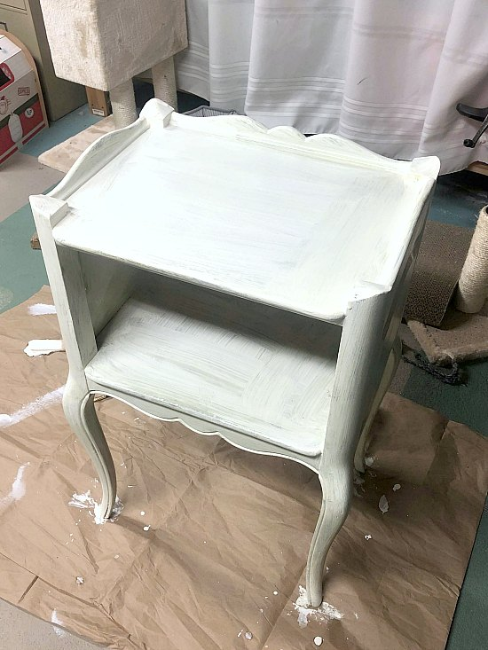 Painted Neutral End Table with Basket Storage