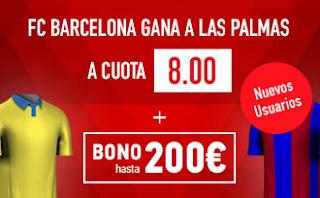 Supercuota 8 sportium Las Palmas vs Barcelona + 200 euros liga 14 mayo JRVM