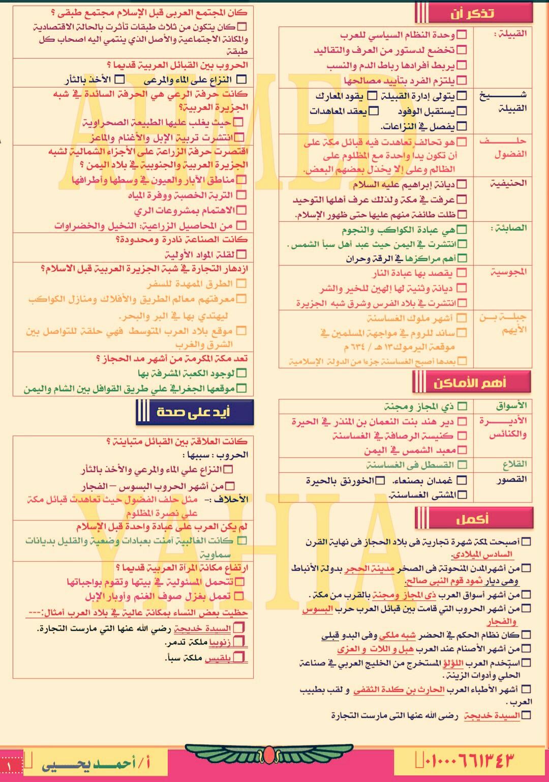 حمل ملخص التاريخ للصف الثاني الثانوي الترم الاول فى 12ورقة للاستاذ احمد يحيى