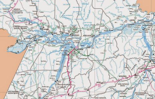 Mapa da região de Santarém - Pará