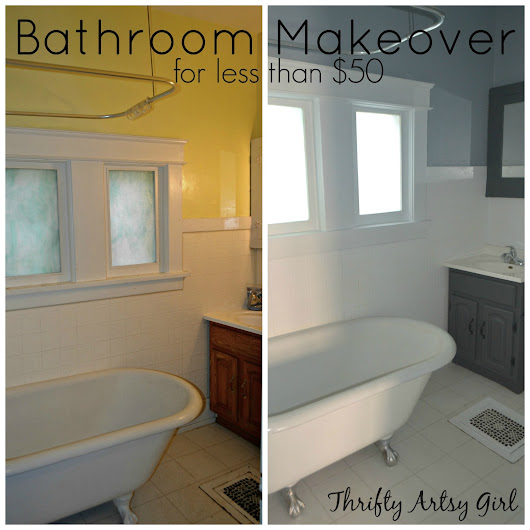 The Power of Paint: Shades of Grey Apartment Bathroom Reveal ~ Thrifty Artsy Girl