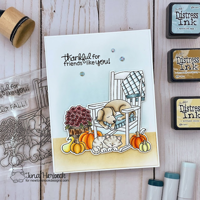 Fall Dog and Cat Friendship Card by Tina Herbeck | Fall Friends Stamp Set by Newton's Nook Designs #newtonsnook