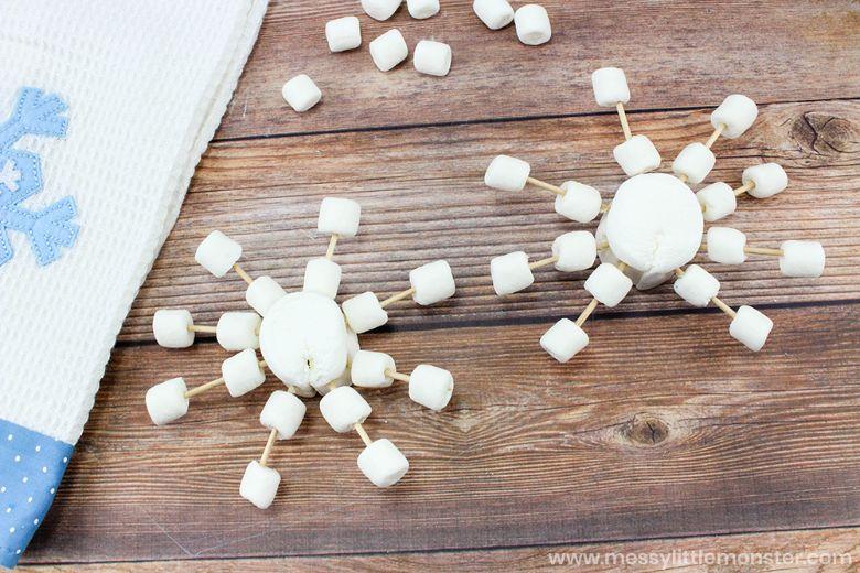 snowflake marshmallows winter craft for kids