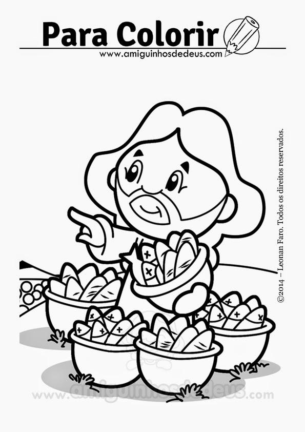 multiplicação dos pães desenho para colorir